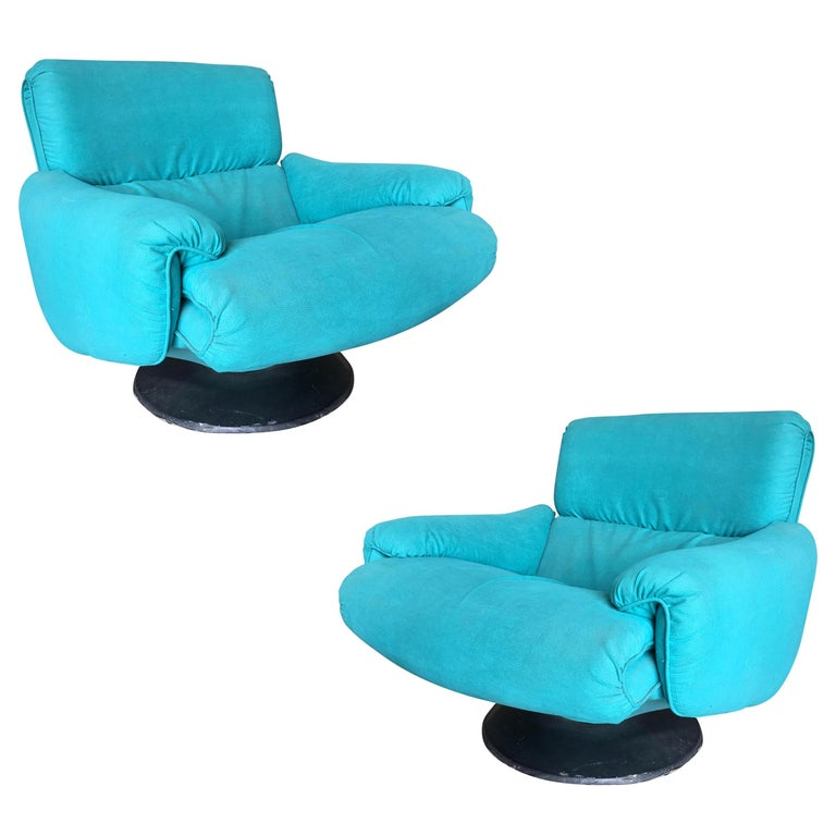 Blue Modernist Swivel Lounge Chair by Arconas, 2 Available For Sale