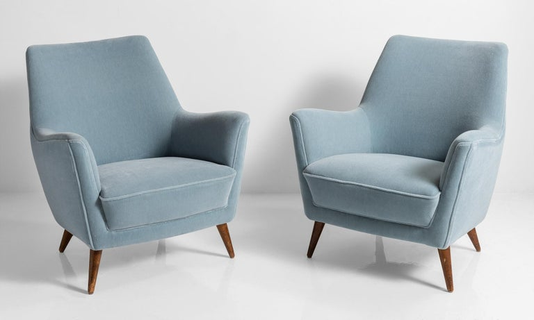 Blue mohair armchairs, Italy, circa 1960.