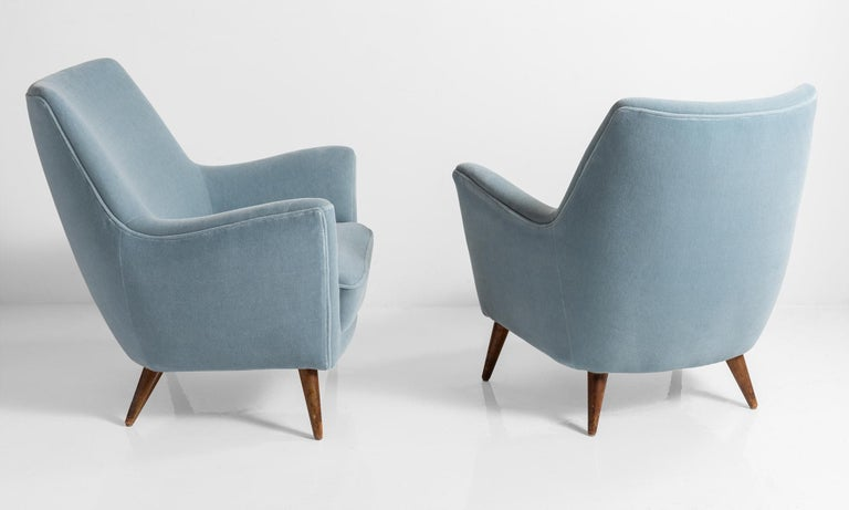 Italian Blue Mohair Armchairs, Italy, circa 1960 For Sale
