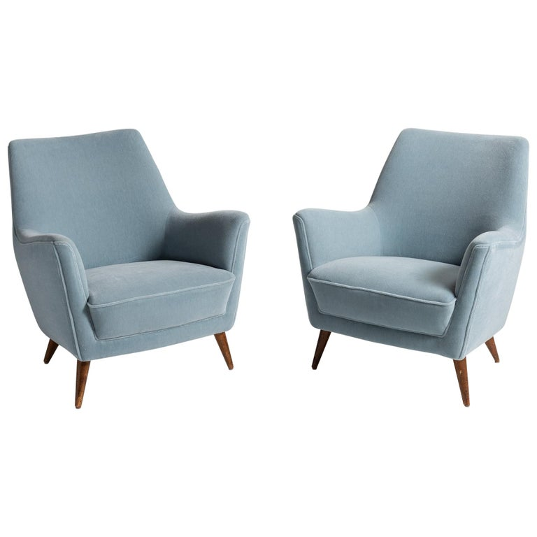 Blue Mohair Armchairs, Italy, circa 1960 For Sale