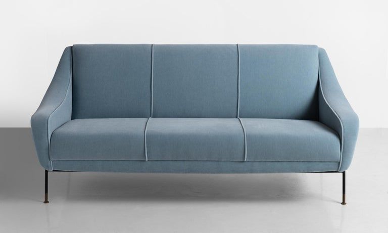 Blue Mohair Modern Sofa by Ezio Minotti, Italy, circa 1950.