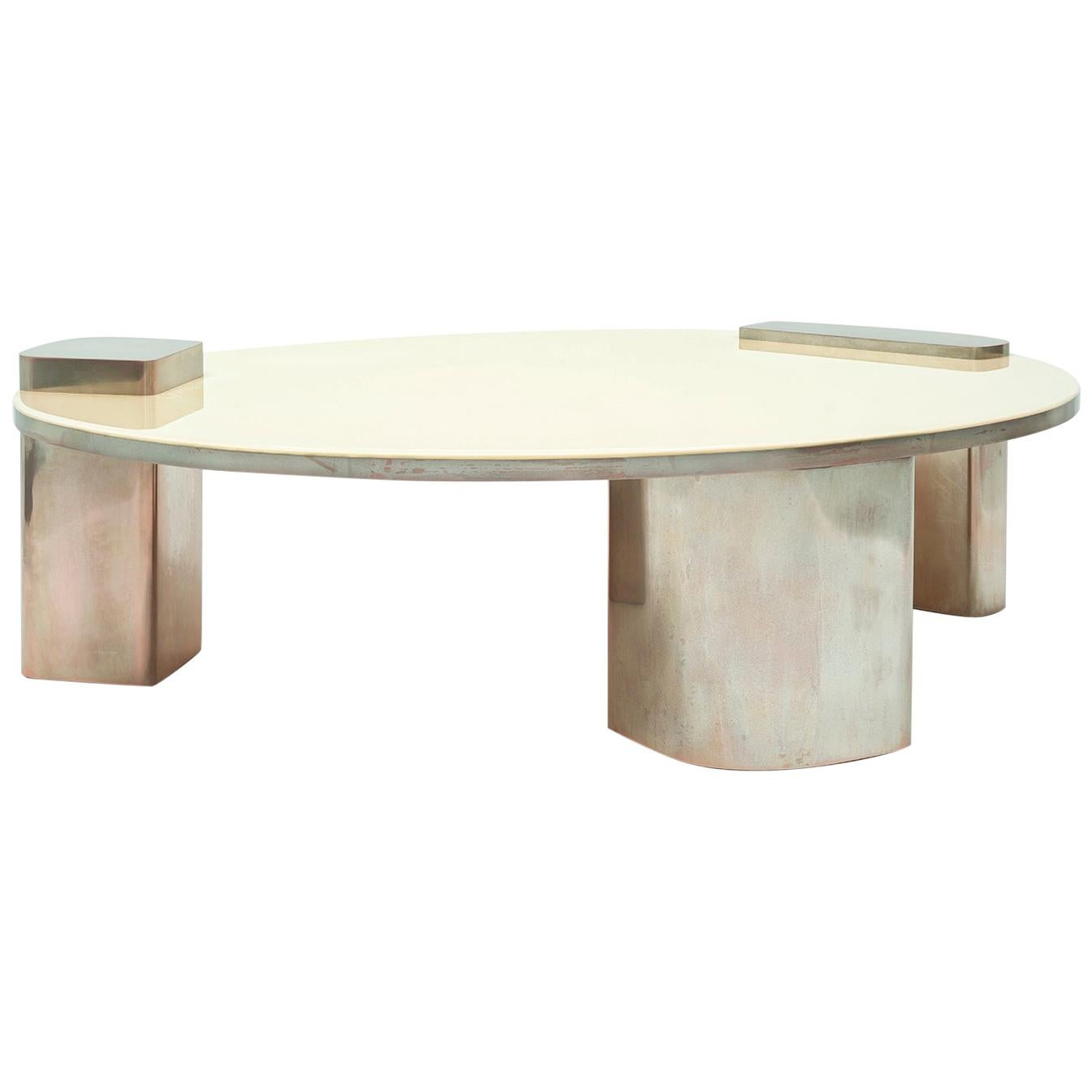 Blue Moom Mmxix, 21st Century Resin and Silvered Copper Oval Coffee Table