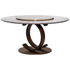 Blue Moon Round Dining Table with Marble Lazy Susan