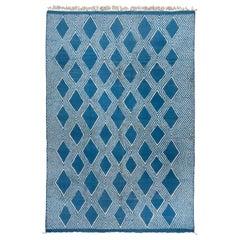 Blue Moroccan Carpet, High Low Pile, Royal Blue, Modern, Contemporary