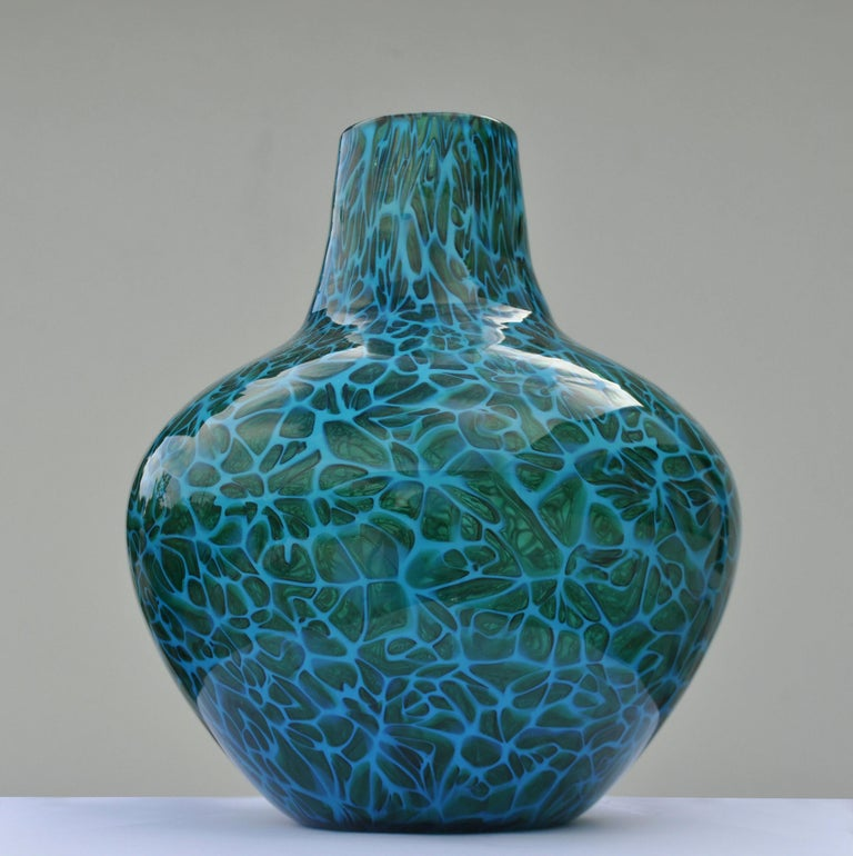Hand-Crafted Blue Mosaico Vase Attributed to Fratelli Toso, 1950s, Italy For Sale