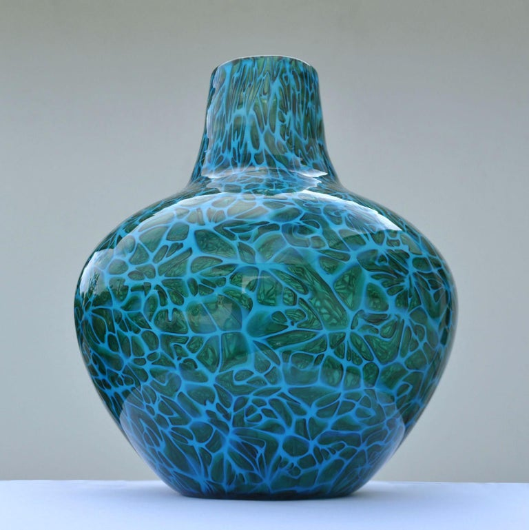 Mid-20th Century Blue Mosaico Vase Attributed to Fratelli Toso, 1950s, Italy For Sale