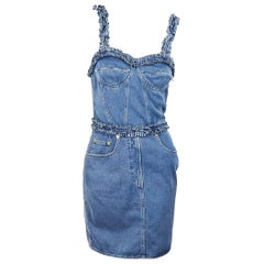Blue Moschino Jean Denim Bustier Dress