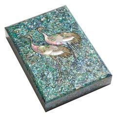Blue Mother of Pearl Decorative Wooden Box with Crane Design by Arijian