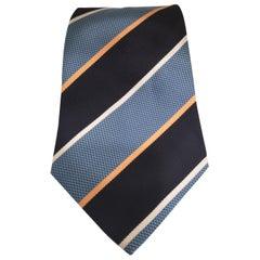 Blue multicoloured silk tie