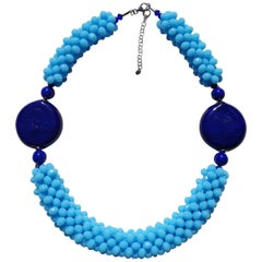 Blue Murano glass beads fashion necklace by Venetian artist Paola B.