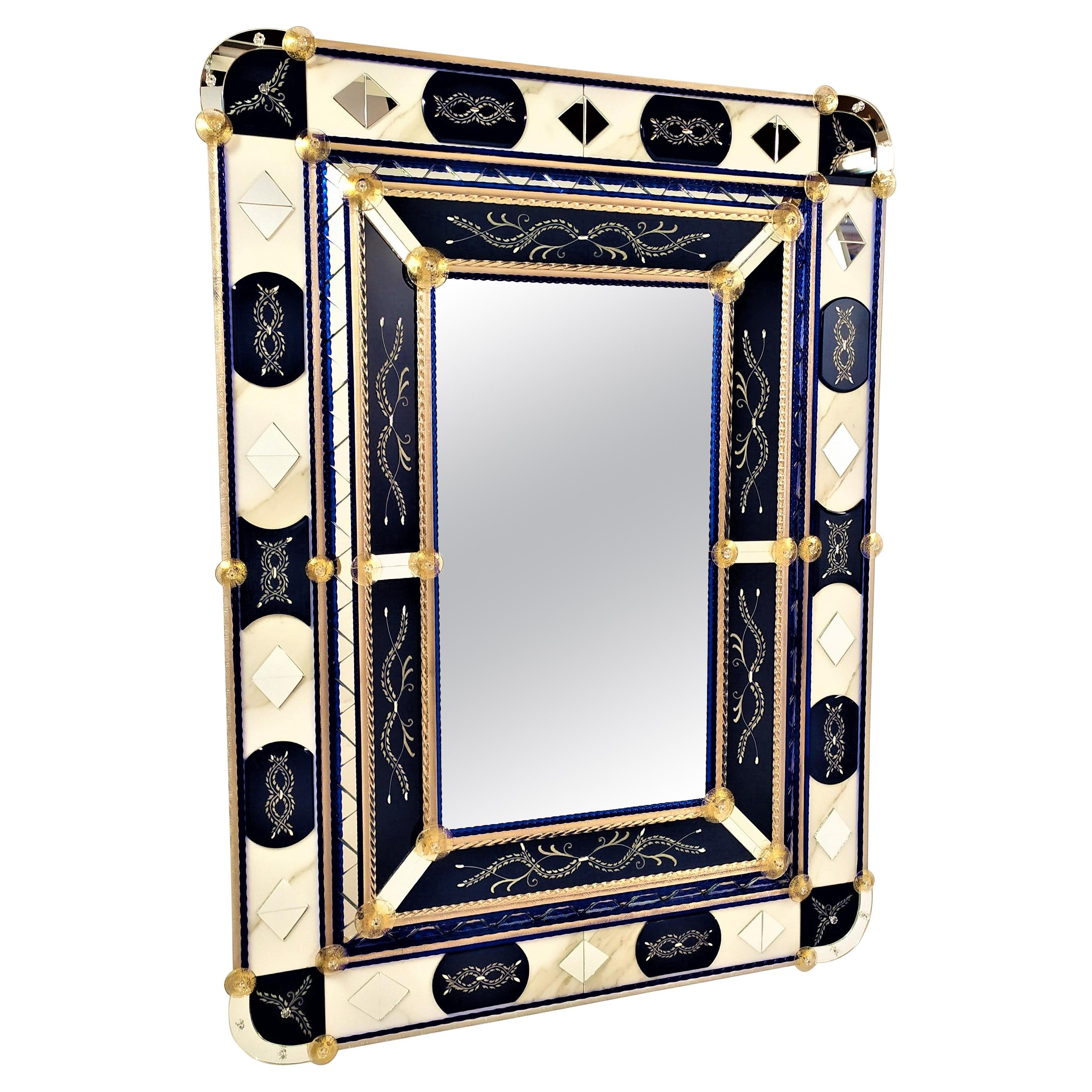 """""""Blue"""" Murano Glass Mirror, Contemporay, Hand Made by Fratelli Tosi"""