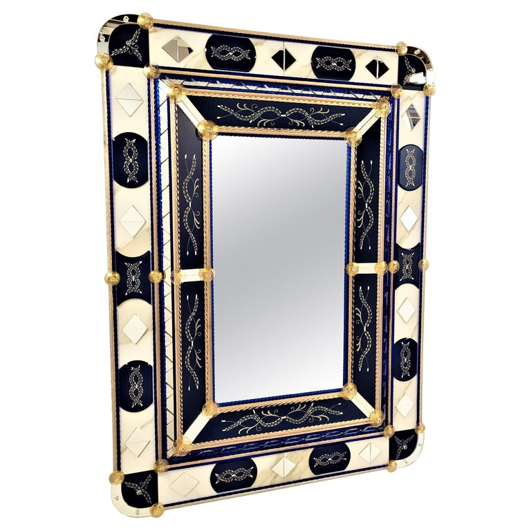 """""""Blue"""" Murano Glass Mirror, Contemporay, Hand Made by Fratelli Tosi For Sale"""