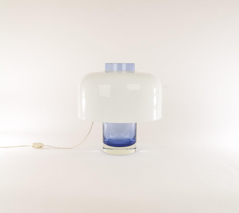 Mid-Century Modern Blue Murano Glass Table Lamp LT 226 by Carlo Nason for A.V. Mazzega, 1960s For Sale
