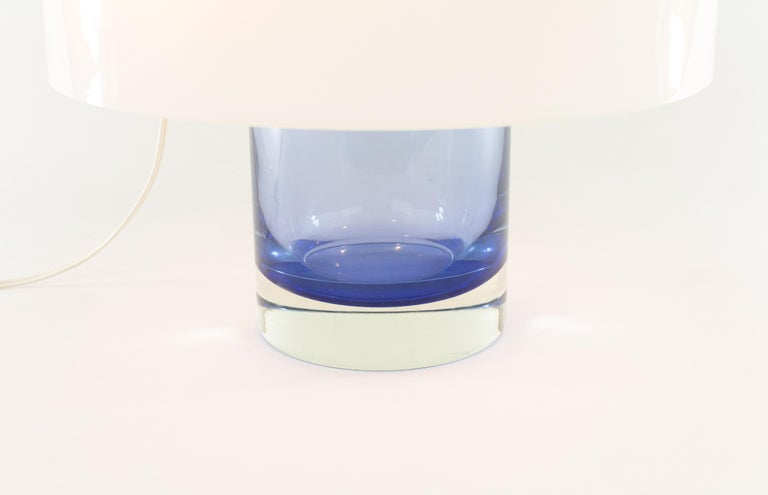 Mid-20th Century Blue Murano Glass Table Lamp LT 226 by Carlo Nason for A.V. Mazzega, 1960s For Sale