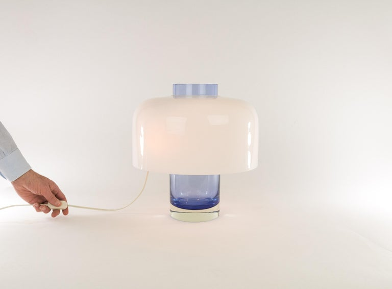 Blue Murano Glass Table Lamp LT 226 by Carlo Nason for A.V. Mazzega, 1960s For Sale 1
