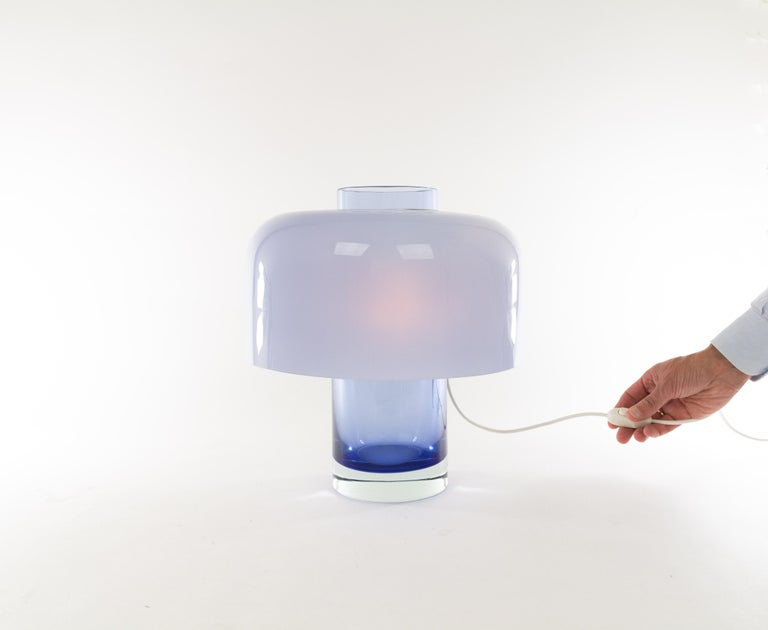 Blue Murano Glass Table Lamp LT 226 by Carlo Nason for A.V. Mazzega, 1960s 1