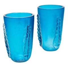 "Blue Murano Glass ""Veronese"" Vases by Costantino"