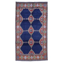 Blue Persian Hamadan Open Field Geometric Hand Knotted Oriental Rug