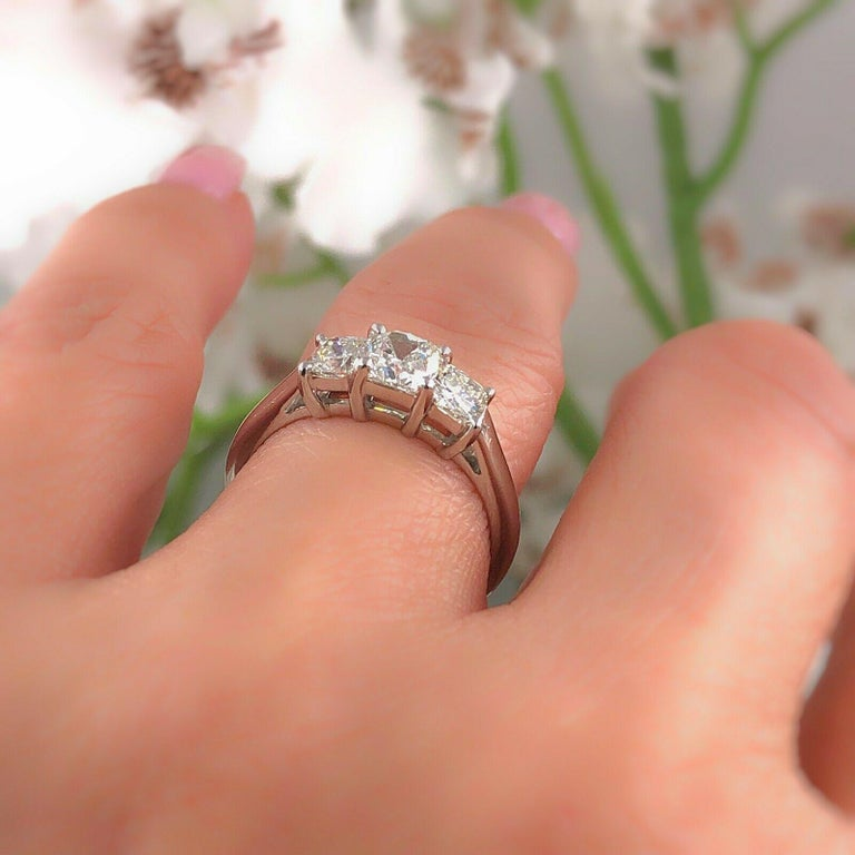 Blue Nile 3-Stone Platinum Diamond Engagement Ring Cushion 1.96 Carat For Sale 5