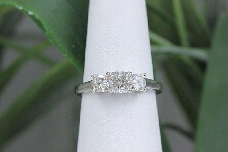 Blue Nile 3-Stone Platinum Diamond Engagement Ring Cushion 1.96 Carat For Sale 6