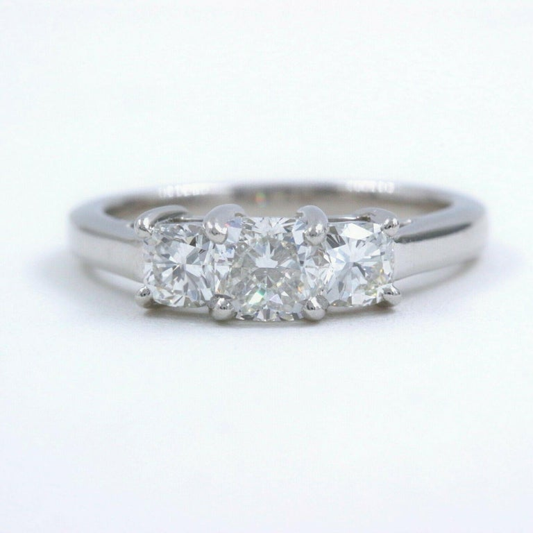 Blue Nile 3-Stone Platinum Diamond Engagement Ring Cushion 1.96 Carat For Sale 7