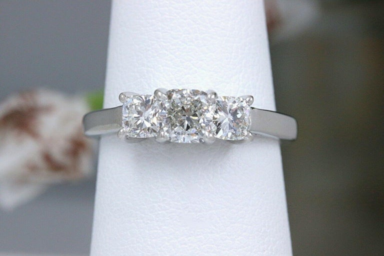 Women's Blue Nile 3-Stone Platinum Diamond Engagement Ring Cushion 1.96 Carat For Sale