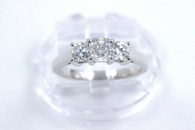 Blue Nile 3-Stone Platinum Diamond Engagement Ring Cushion 1.96 Carat For Sale 1