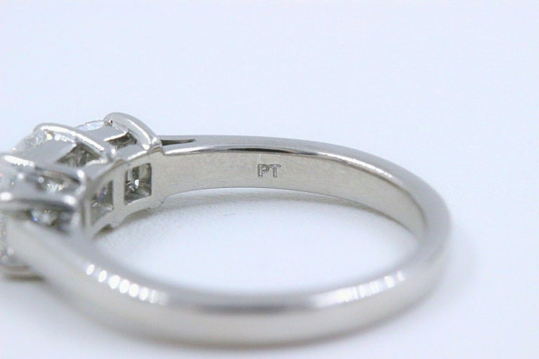 Blue Nile 3-Stone Platinum Diamond Engagement Ring Cushion 1.96 Carat For Sale 2