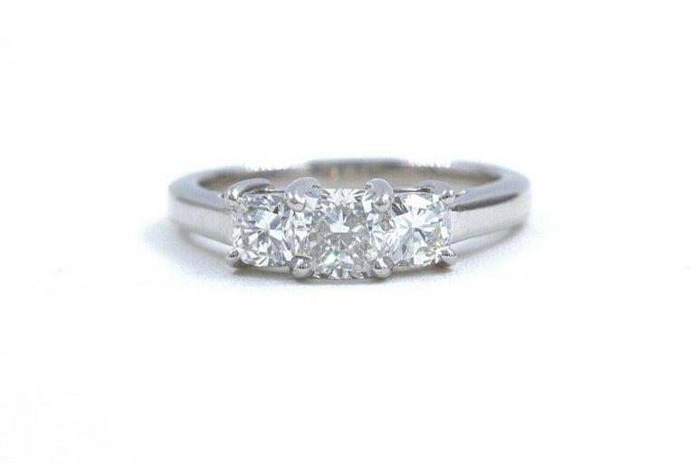 Blue Nile 3-Stone Platinum Diamond Engagement Ring Cushion 1.96 Carat For Sale 3