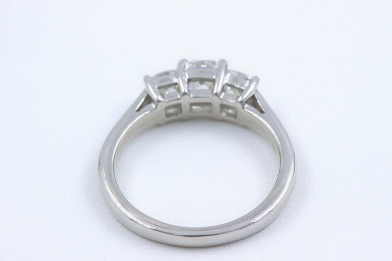 Blue Nile 3-Stone Platinum Diamond Engagement Ring Cushion 1.96 Carat For Sale 4