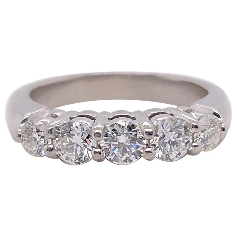 Blue Nile 5 Round Diamond 0.85 Carat Anniversary Band Ring in Platinum For Sale