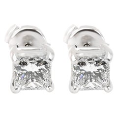 Blue Nile Princess Cut Diamond Stud Earring in Platinum GIA E VVS1 1.88 Carat