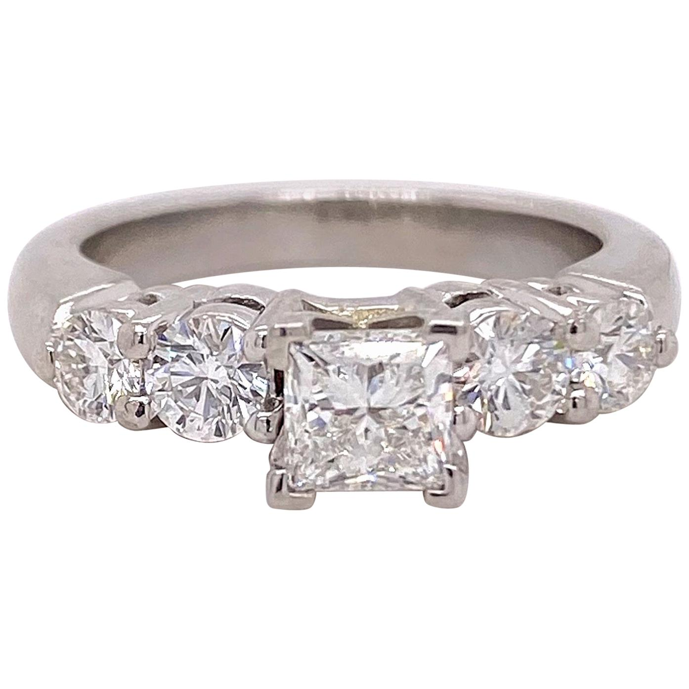 Blue Nile Princess Diamond 1.36 Carat G VS1 Platinum Engagement Ring AGS