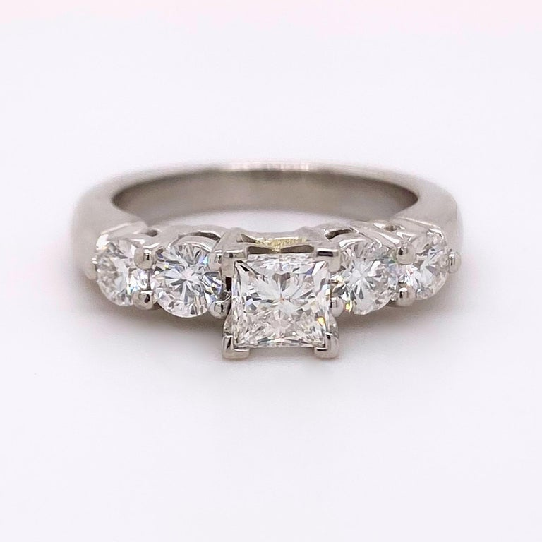Blue Nile Princess Diamond 1.36 Carat G VS1 Platinum Engagement Ring AGS For Sale 5