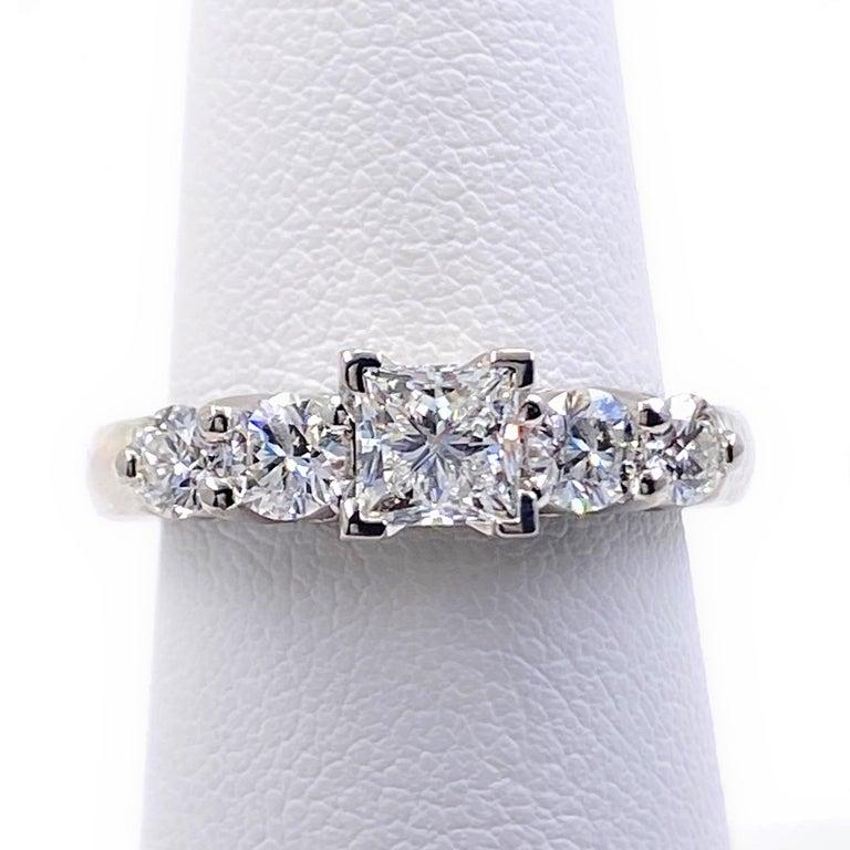 Blue Nile Princess Diamond 1.36 Carat G VS1 Platinum Engagement Ring AGS For Sale 6