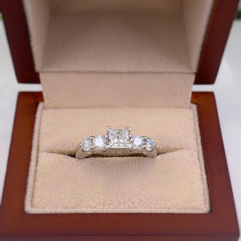 Blue Nile Princess Diamond 1.36 Carat G VS1 Platinum Engagement Ring AGS For Sale 7