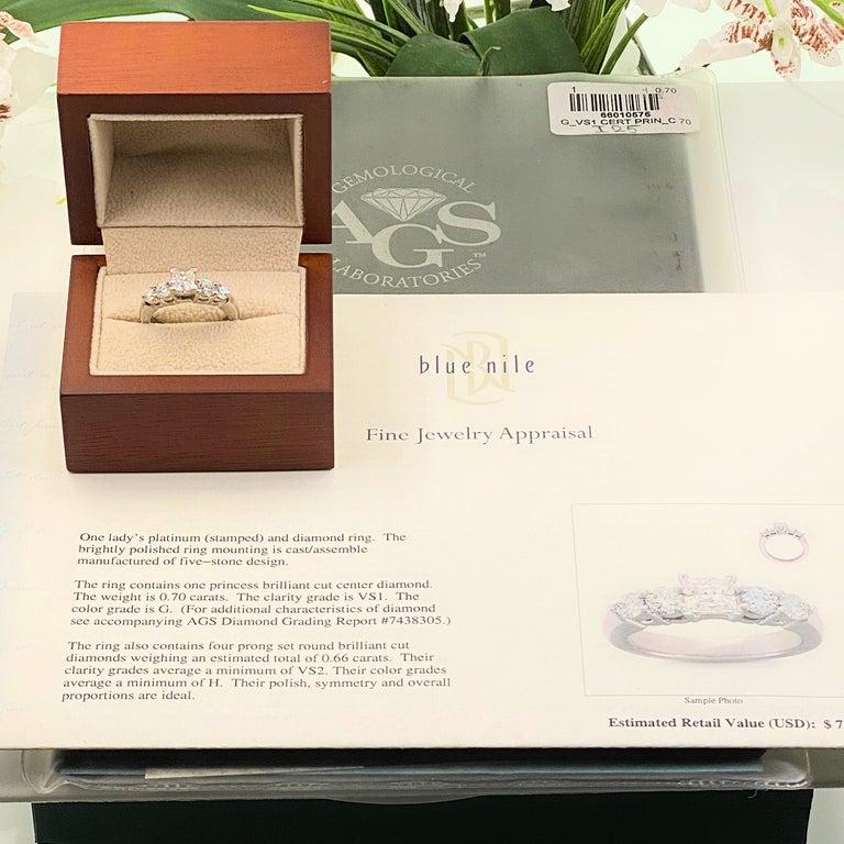 Princess Cut Blue Nile Princess Diamond 1.36 Carat G VS1 Platinum Engagement Ring AGS For Sale