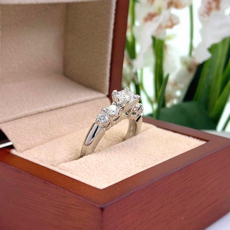 Blue Nile Princess Diamond 1.36 Carat G VS1 Platinum Engagement Ring AGS For Sale 1