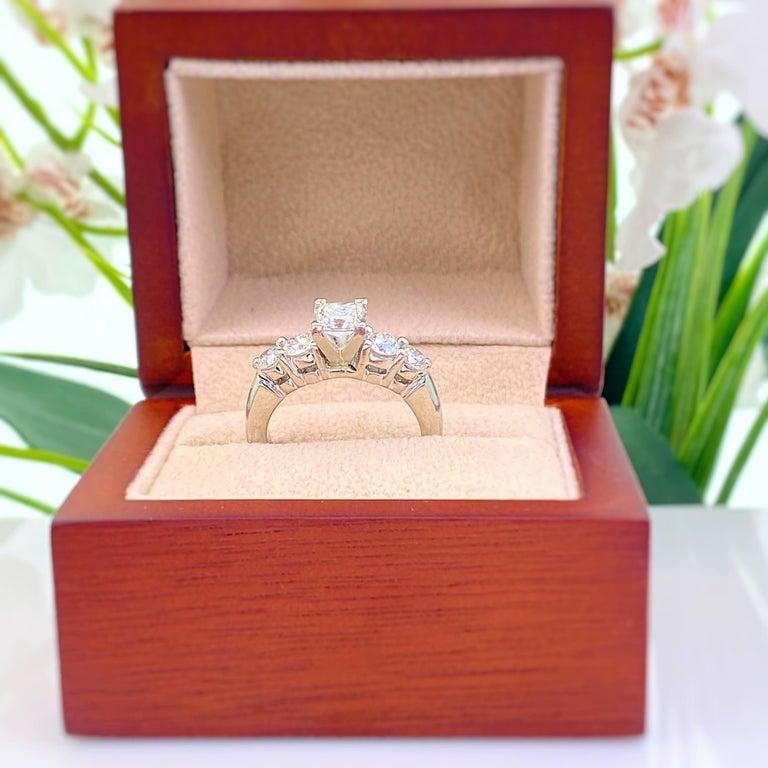Blue Nile Princess Diamond 1.36 Carat G VS1 Platinum Engagement Ring AGS For Sale 2