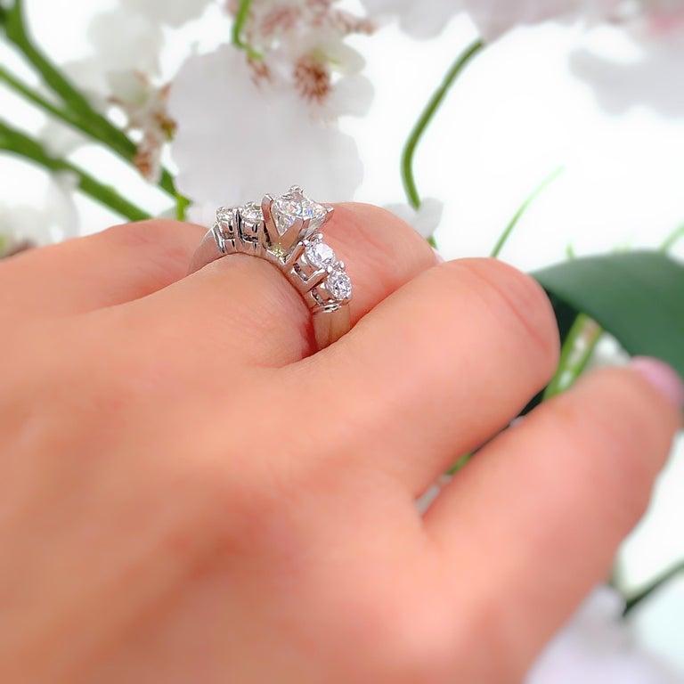 Blue Nile Princess Diamond 1.36 Carat G VS1 Platinum Engagement Ring AGS For Sale 3