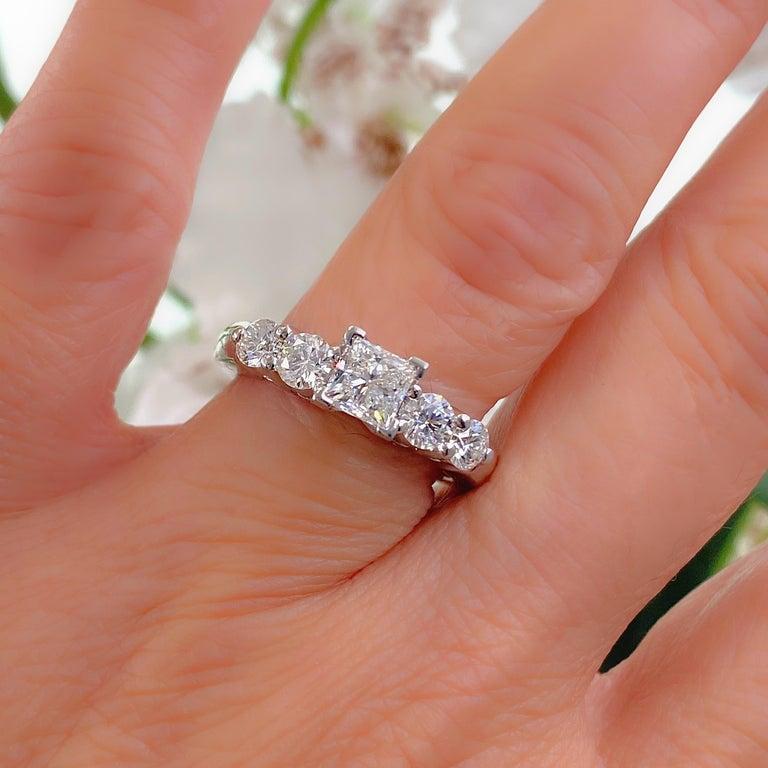 Blue Nile Princess Diamond 1.36 Carat G VS1 Platinum Engagement Ring AGS For Sale 4