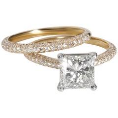 Blue Nile Princess Diamond Wedding Set in 18 Karat Yellow Gold H VVS2 2.70 Carat