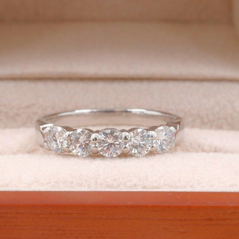 Blue Nile Round Diamond 0.90 Carat Five-Stone Band For Sale 4