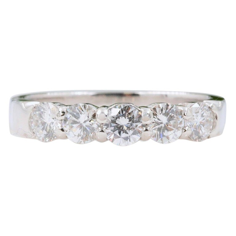 Blue Nile Round Diamond 0.90 Carat Five-Stone Band For Sale