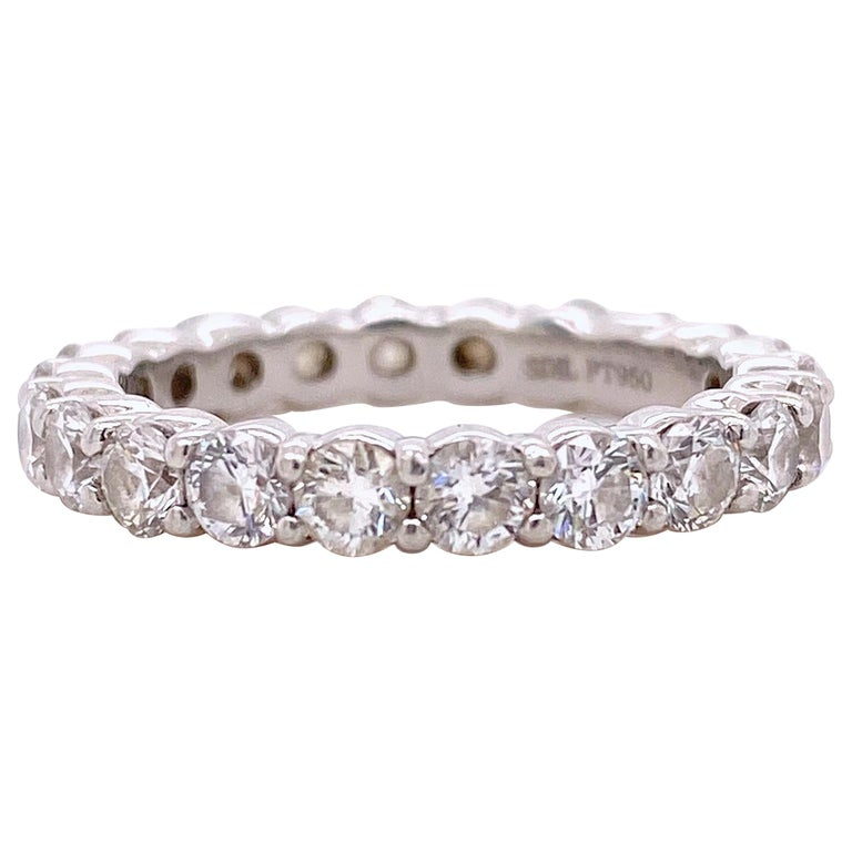 Blue Nile Round Diamond 2.07 Carat Full Circle Eternity Band in Platinum For Sale