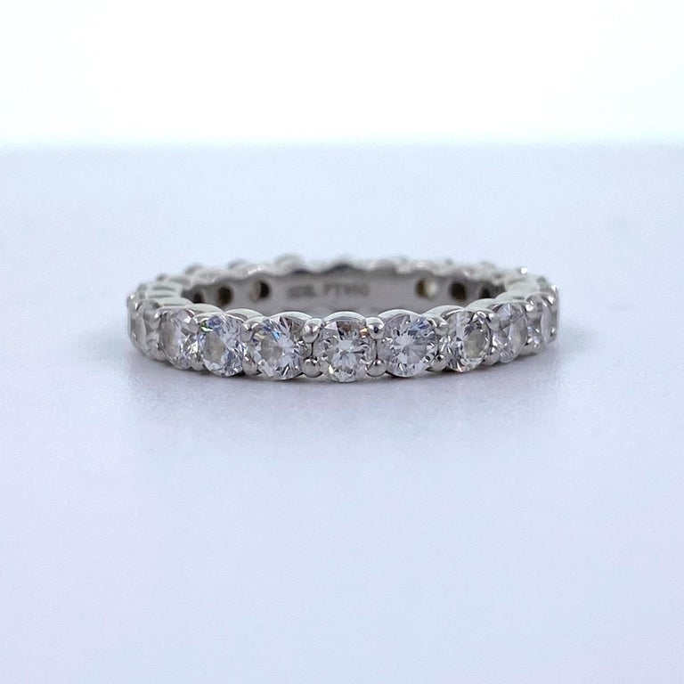 Blue Nile Round Diamond 2.07 Carat Full Circle Eternity Band in Platinum For Sale 5