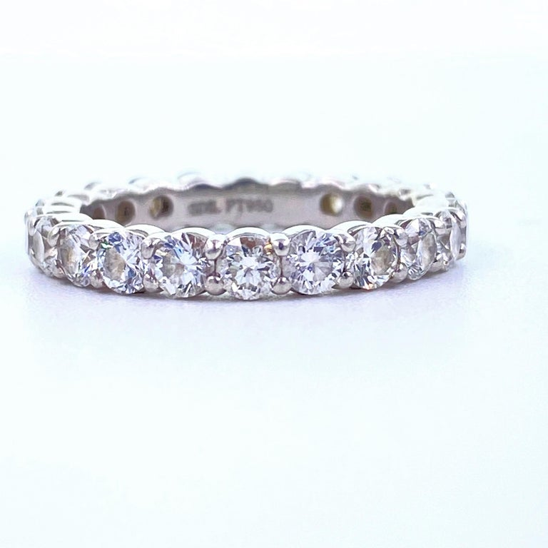 Blue Nile Round Diamond 2.07 Carat Full Circle Eternity Band in Platinum For Sale 6