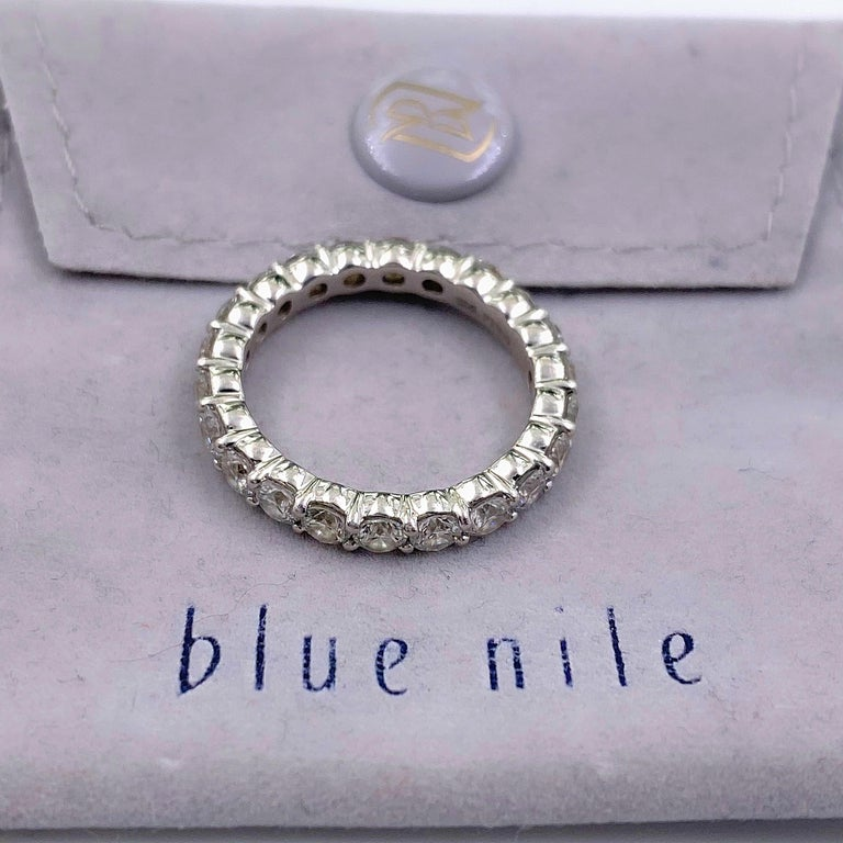 Round Cut Blue Nile Round Diamond 2.07 Carat Full Circle Eternity Band in Platinum For Sale