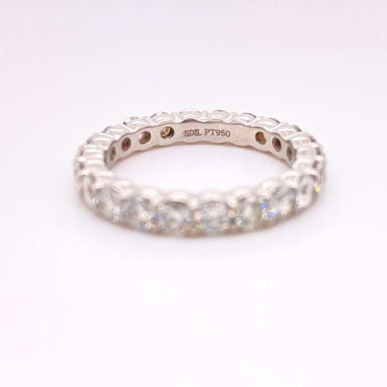 Women's or Men's Blue Nile Round Diamond 2.07 Carat Full Circle Eternity Band in Platinum For Sale