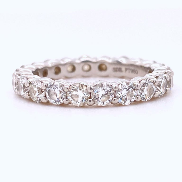 Blue Nile Round Diamond 2.07 Carat Full Circle Eternity Band in Platinum For Sale 4